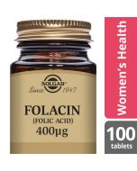 Solgar Folacin Folic Acid 400 mcg 100 Tablets