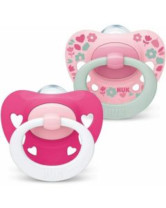 NUK Signature Girl  Size 2 (6-18m) Silicone Soother Twin Pack