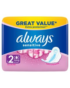 ALWAYS SENSITIVE LONG ULTRA SANITARY TOWELS WITH WINGS 12 PADS