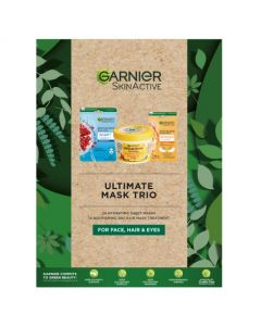 Garnier Ultimate Mask Trio, Gift Set of Best-selling Masks for Face, Hair and Eyes
