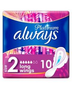 Always Platinum Long Plus With Wings 10's