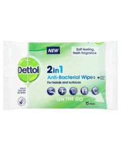 Dettol 2in1 Antibacterial Wipes 15s
