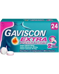 Gaviscon Extra Mint Flavour Chewable Tablets 24's