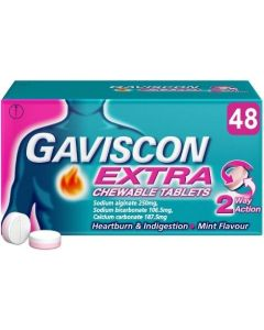 Gaviscon Extra Mint Flavour Chewable Tablets 48's