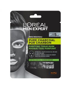 L'Oreal Men Expert Pure Charcoal Purifying Tissue Mask 30g Front