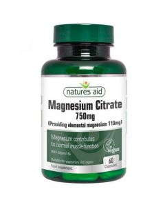 Natures Aid Magnesium Citrate 750mg 60 Caps Front