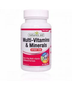 Natures Aid Multi-Vitamin & Minerals (Without Iron) - (60)