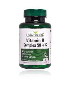 Natures Aid Vitamin B Complex + C High Potency -with Vitamin C 90 Tablets