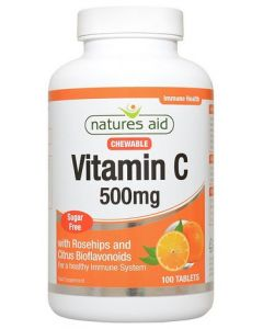Natures Aid Vitamin C 500mg Chewable Sugar Free Tabs 100s Front