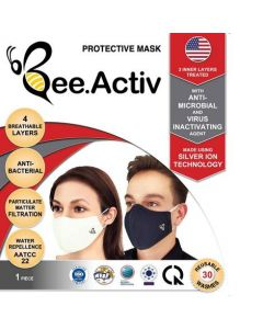 Washable and Re-Usable Anti Bacterial Barrier Mask black
