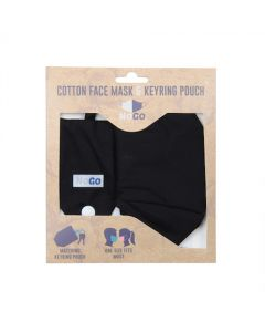 NoGo Black Cotton Face Covering With Keyring Pouch
