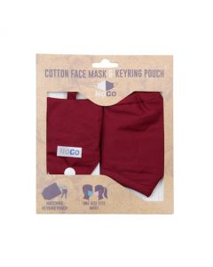 NoGo Burgundy Cotton Face Covering With Keyring Pouch