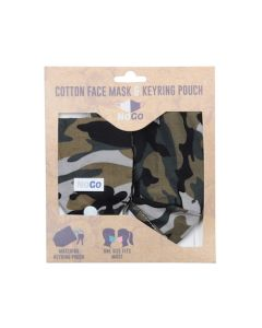 NoGo Camouflage Cotton Face Covering With Keyring Pouch