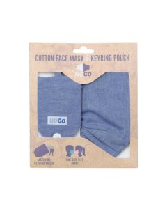 NoGo Denim Cotton Face Covering With Keyring Pouch