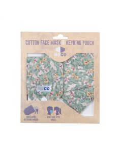 NoGo Ditsy Floral Cotton Face Covering With Keyring Pouch