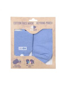 NoGo Light Blue Cotton Face Covering With Keyring Pouch