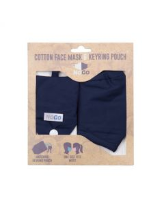 NoGo Navy Cotton Face Covering With Keyring Pouch