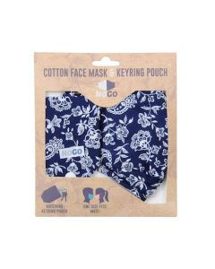 Nogo Paisley Flower Cotton Face Covering With Keyring Pouch