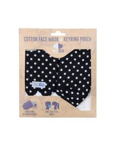 NoGo Polka Cotton Face Covering With Keyring Pouch