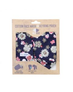 NoGo Winter Floral Cotton Face Covering With Keyring Pouch