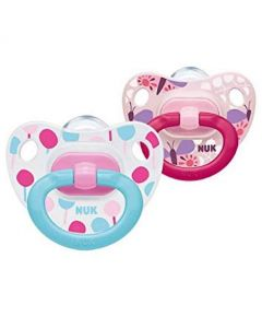 NUK Classic Happy Days Girls Soother with Silicone Teat (0-6M)