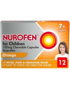 Nurofen for Children 100mg Chewable Capsules Orange 7+ Years 12 Chewable Capsules