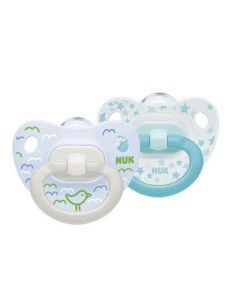 NUK Classic Happy Days Boys Soother with Silicone Teat 0-6 Months