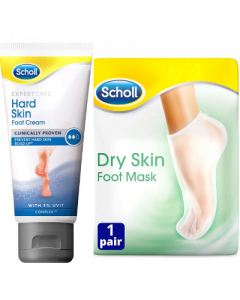 Scholl Hard Skin Cream + Dry Skin Foot Mask Bundle