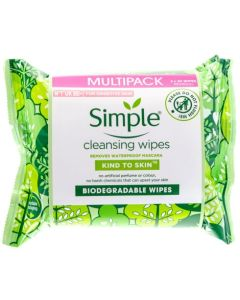 Simple Biodegradable Facial Cleansing Wipes 2x20 Pack