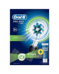 Oral-B Pro 650 Black Cross Action Electric Toothbrush & Toothpaste Bundle