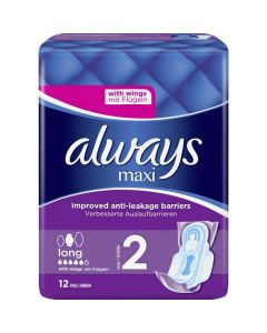 Always Maxi Long Sanitary Towels Size 2 With Wings 12's