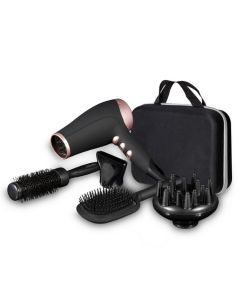 Carmen 2200W Hair Dryer Styling Set 4 Accessories Black & Rose Gold