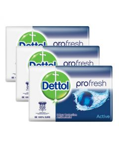 Dettol Profresh Active Antibacterial Hand Soap 65g Pack of 3
