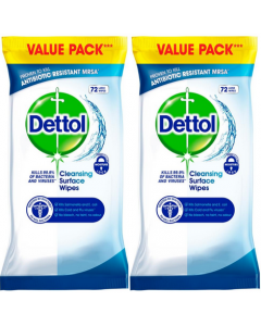 Dettol Surface Cleanser Wipes 2x 72s (144 Wipes)
