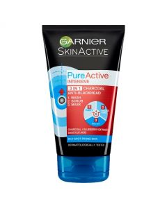 Garnier Pure Active Intensive 3 in 1 Charcoal Anti-Blackhead Wash Scrub & Mask