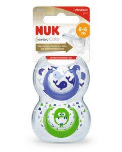 NUK Genius Design Boy Size 1 (0-6m) Silicone Soother Twin Pack