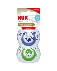 NUK Genius Design Boy Size 2 (6-18m) Silicone Soother Twin Pack