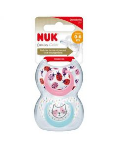 NUK Genius Design Girl  Size 1 (0-6m) Silicone Soother Twin Pack
