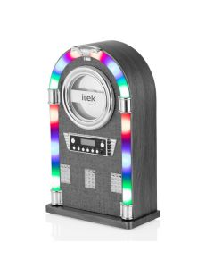 iTek I60024 Tabletop Bluetooth Jukebox with CD Player, Grey Fabric