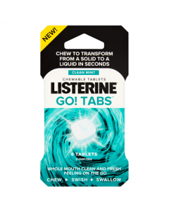 Listerine Go! Tabs Clean Mint Chewable Tablets 4 Tablets