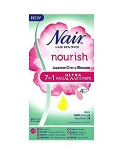 Nair Nourish Japanese Cherry Blossom 7 In 1 Ultra Facial Wax Strips 20s