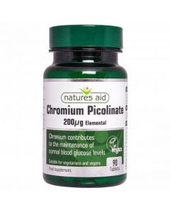 Natures Aid Chromium Picolinate 200ug 90 Tablets Front