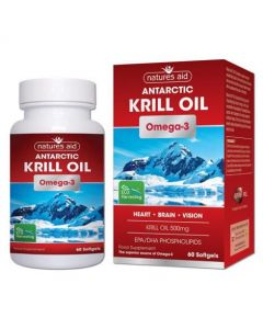 Natures Aid Krill Oil 500mg 100% Pure Omega -3 60 softgels