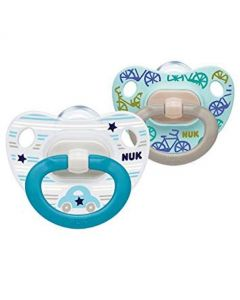 NUK Classic Happy Days Boys Soother with Silicone Teat 6-18 Months