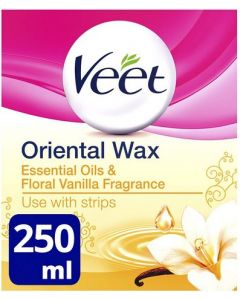 Veet Essential Oils and Floral Vanilla Warm Wax Microwavable Jar 250ml
