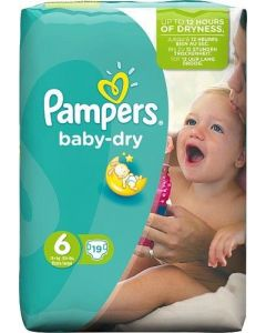 Pampers Baby Dry Baby Nappies 6-15kg 19 Nappies Size 6