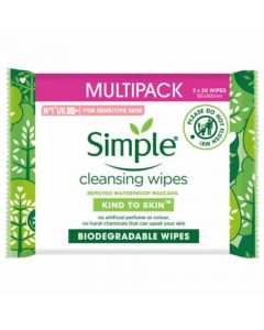 Simple Biodegradable Cleansing Wipes 20'S x 2