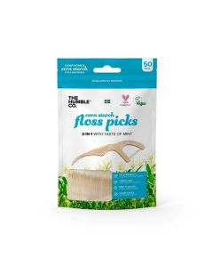 The Humble Co Corn Starch Floss Picks 2 in 1 Mint