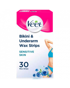 Veet Wax Strips with Easy-Gel Sensitive Skin Bikini & Underarm Front