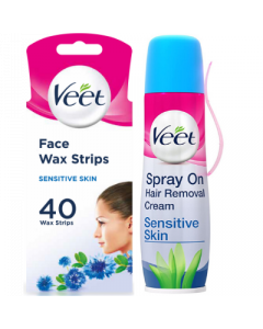 Veet Face Wax Strips 40s + Spray on Cream 150ml